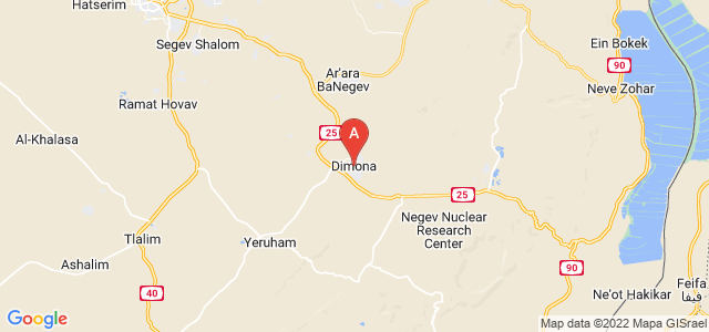 map of Dimona, Israel